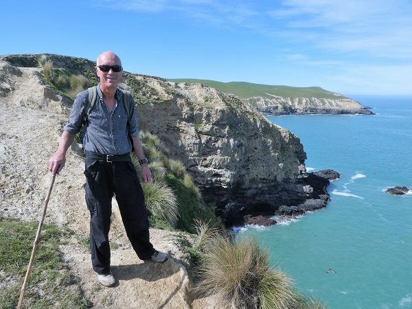 Admiring the view with the track beyond. Boaz Rock Stack, Banks Peninsula, Canterbury, NZ