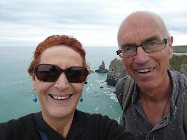 Two happy walkers, Banks Peninsula, Canterbury, NZ