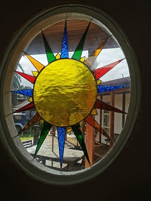Locally made stained glass window at the Last Resort
