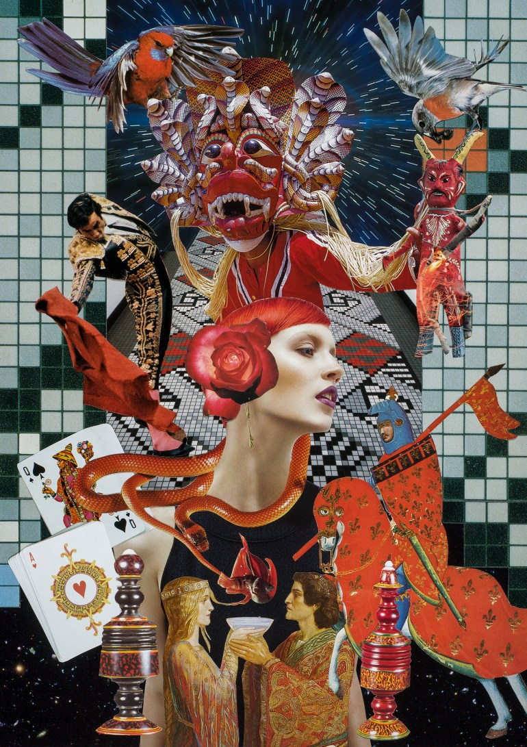 Teresa Goodin | Drinking from the Well of Somatic Pleasure | Handcrafted collage | 210mm x 297mm | 2019
