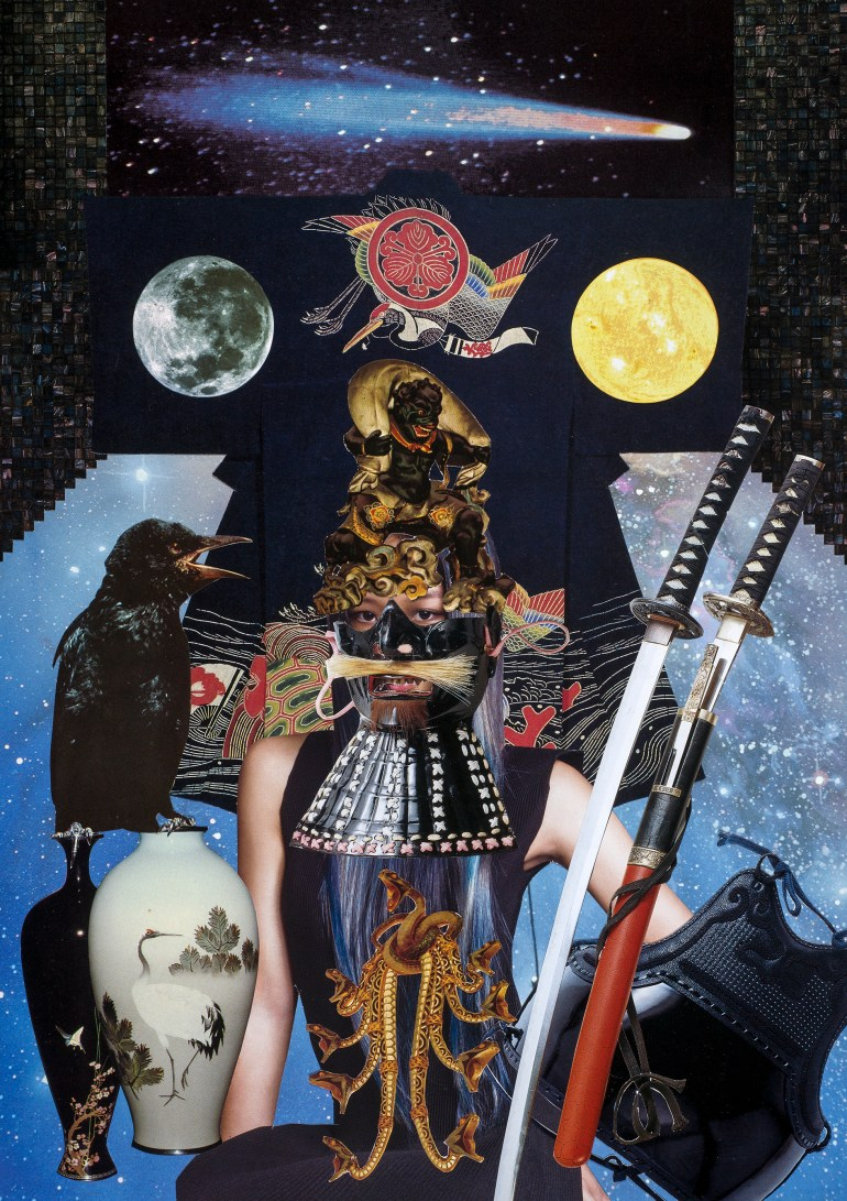 Teresa Goodin | Laying Down one's Swords and Amour | Handcrafted collage | 210mm x 297mm | 2019