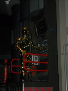 C-3PO gets our Star Tours flight ready.