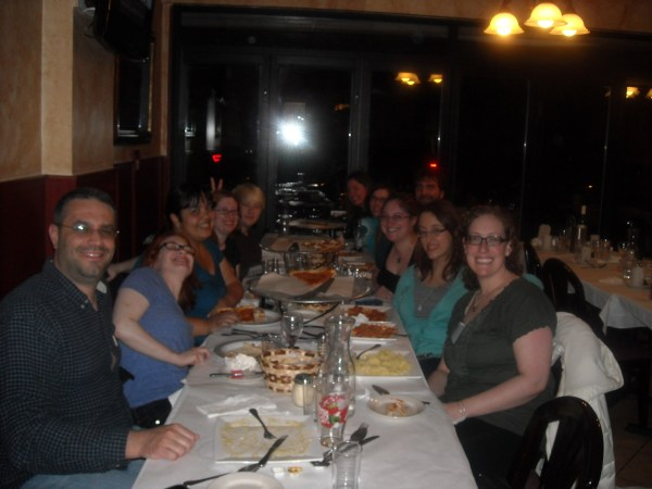 Many members of my tribe at Alba's (l-r): Matt, Olga, Me, Liz B, Talitha, Holly, Caroline, Adam, Deb, Lori, Robin