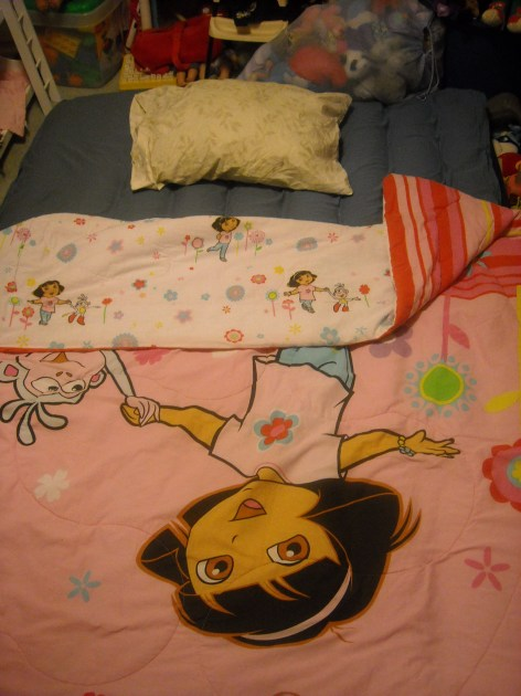 My accommodations at my sister's house. I rocked that Dora the Explorer quilt SO HARD. :)