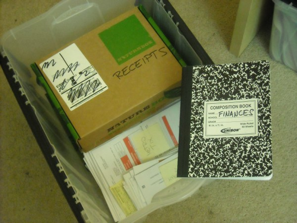My finances. Organized in a box and a notebook. Because eff spreadsheets.