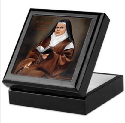 St. Elizabeth of the Trinity Keepsake Rosary box black lacquer