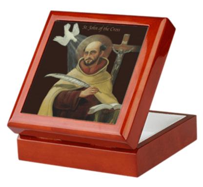 John of the Cross Mahogany Keepsake Rosary Box