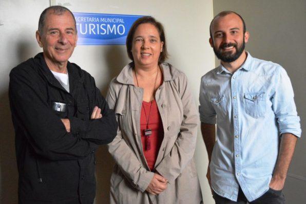 Secretário de Turismo Elias Martins com o organizador Vinicius Oberg, da Agência OTB, e a consultora Ana Cláudia Pampillón: parceria para movimentar a economia da cidade