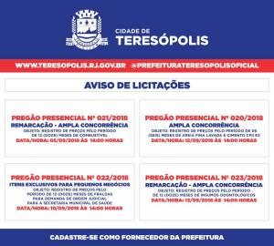 TERESÓPOLIS DIVULGA CALENDÁRIO DE PREGÕES PARA SETEMBRO