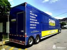 A carreta da Caravana do Trabalho já está posicionada na Praça Olímpica