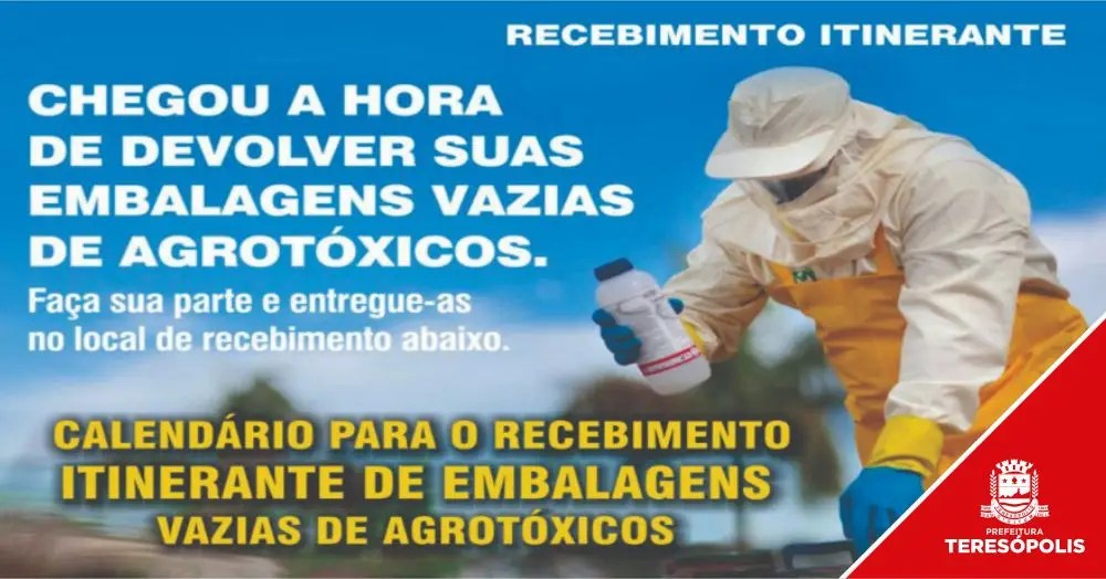 Recolhimento de embalagens de agrotóxico em Teresópolis acontece de 16 a 20 de setembro
