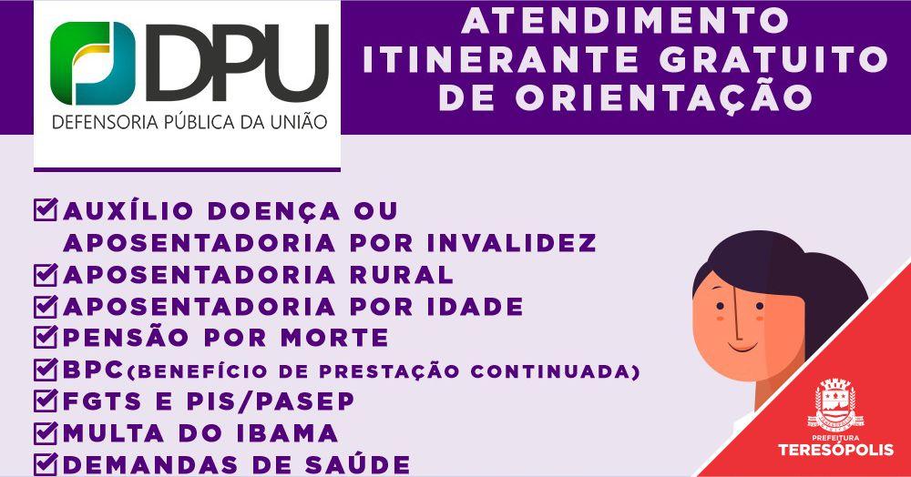 Teresópolis recebe projeto itinerante da DPU nos dias 5 e 6 de outubro