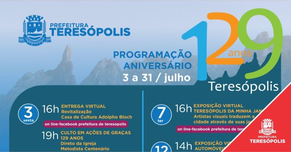 Teresópolis completa 129 anos e terá programação online para marcar o aniversário