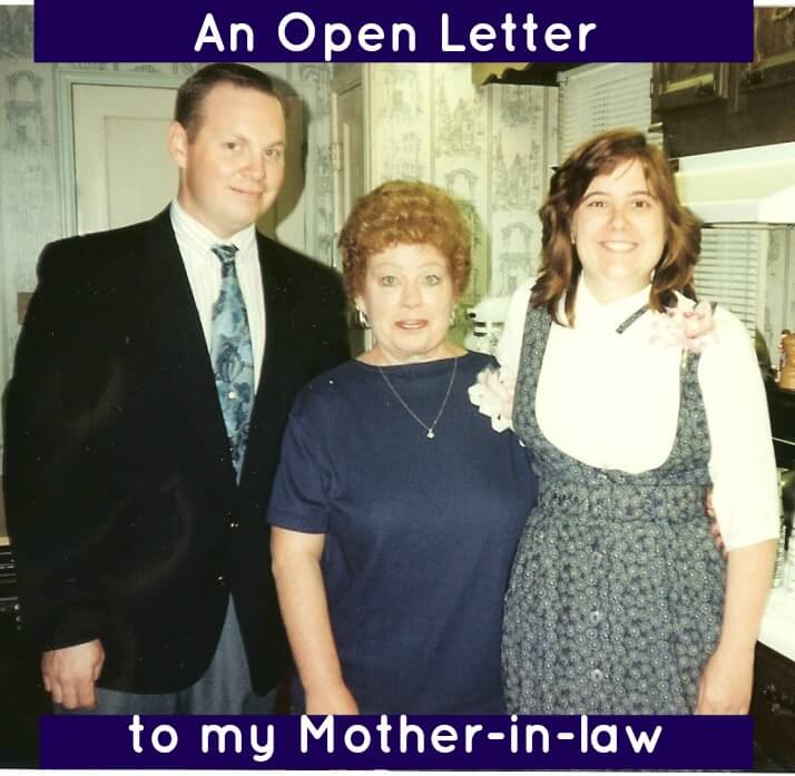 The author with her husband and mother-in-law with the title An Open Letter to my Mother-in-Law