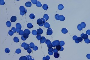 A photo of blue balloons