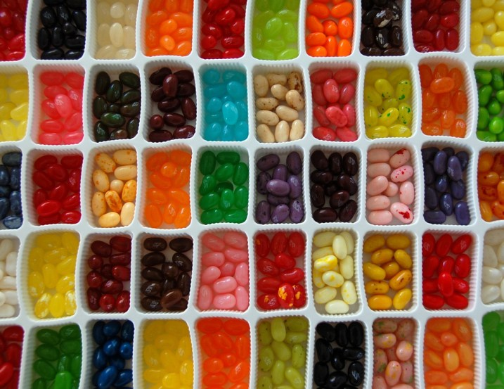 photo of different flavors of Jelly Belly jelly beans