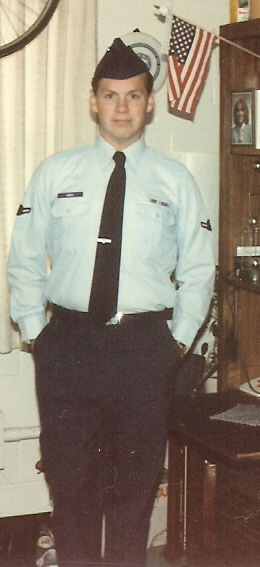 the author's husband in his Air Force uniform, approximately 1986