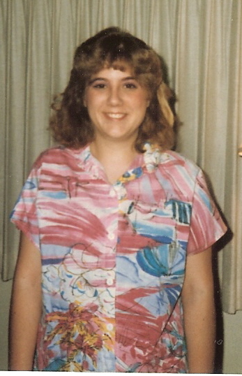 the author in 1985 wearing her pink Hawaiian shirt