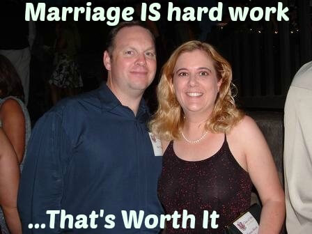 "photo of the author and her husband, dressed up, with the title ""Marriage IS hard work... That's Worth It"""