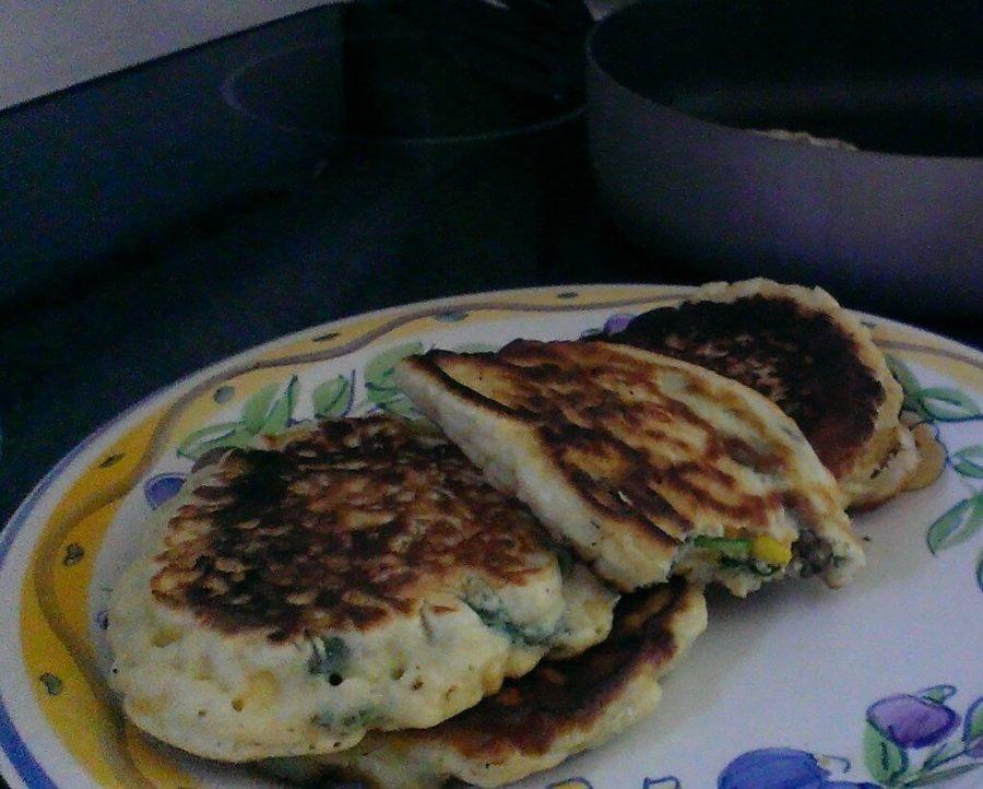 sweet corn spinach and mushroom pancakes