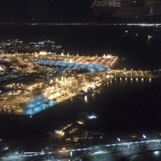 aerial view of the San Francisco Bay at night