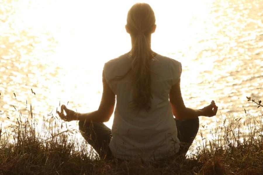 photo of a woman meditating