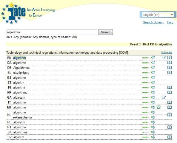 Algorithm IATE screenshot