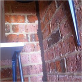 Photo shows termite workings on brickwork going to ceiling.