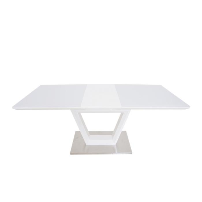 Стол обеденный DT240 белый глянец,стекло белоснежное 3