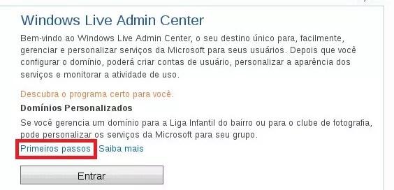 Acessando o Windows Live Admin Center