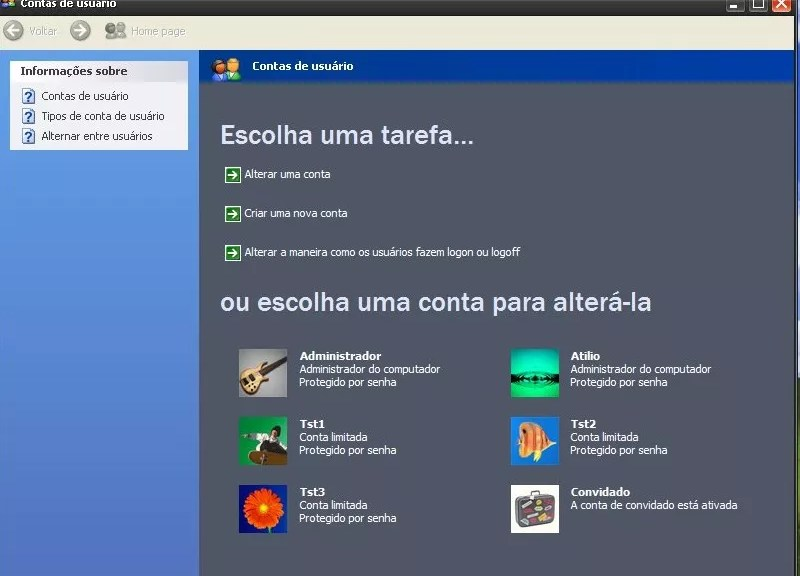 Contas no Windows