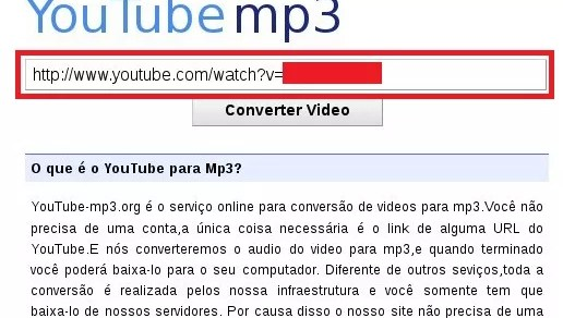 YouTube MP3 - Inserindo um link