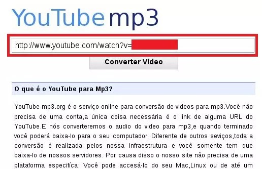 YouTube MP3 - Inserindo um link