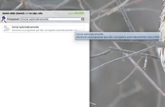 Procurando o aplicativo no menu do KDE