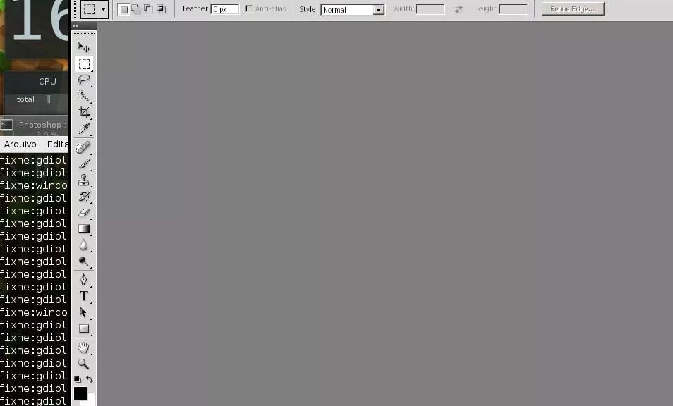 Wine executando aplicativo do Windows (Photoshop CS4 Portable)