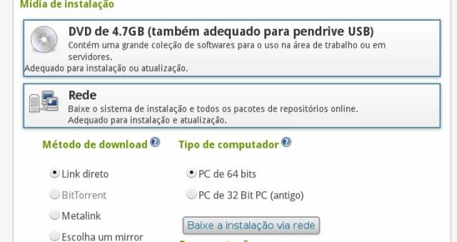 Download do OpenSUSE, instalação via Red