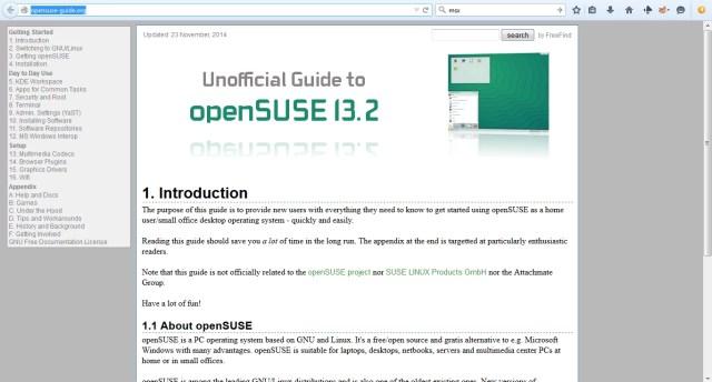 Página inicial do guia para iniciantes do OpenSUSE