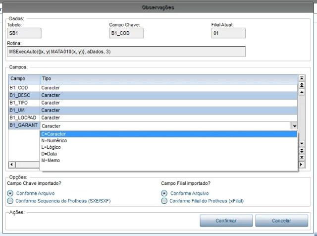 Tela de parametrização para importação