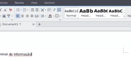 Aplicação de edição de documentos