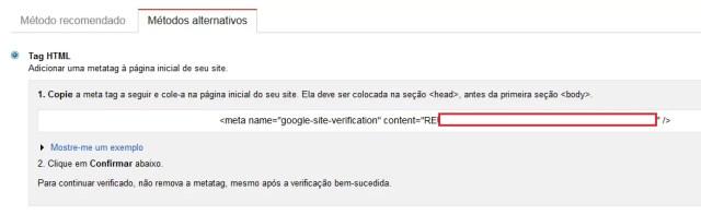 Opções do Google