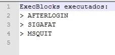 Lista de ExecBlocks executados