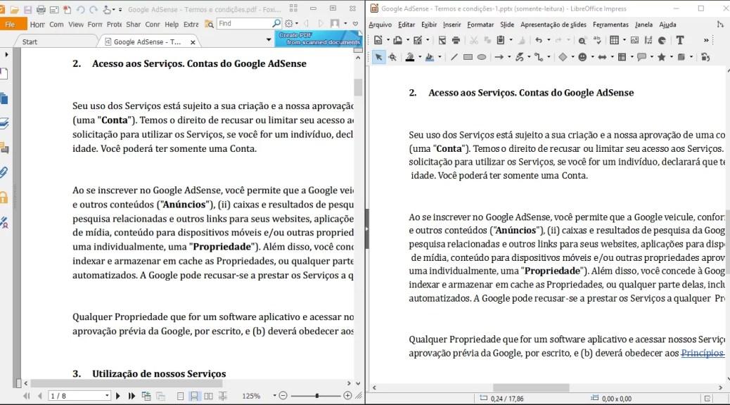 Comparação, a esquerda o PDF original e na direita o PPT gerado