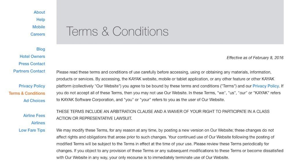 screenshot of kayak terms conditions page