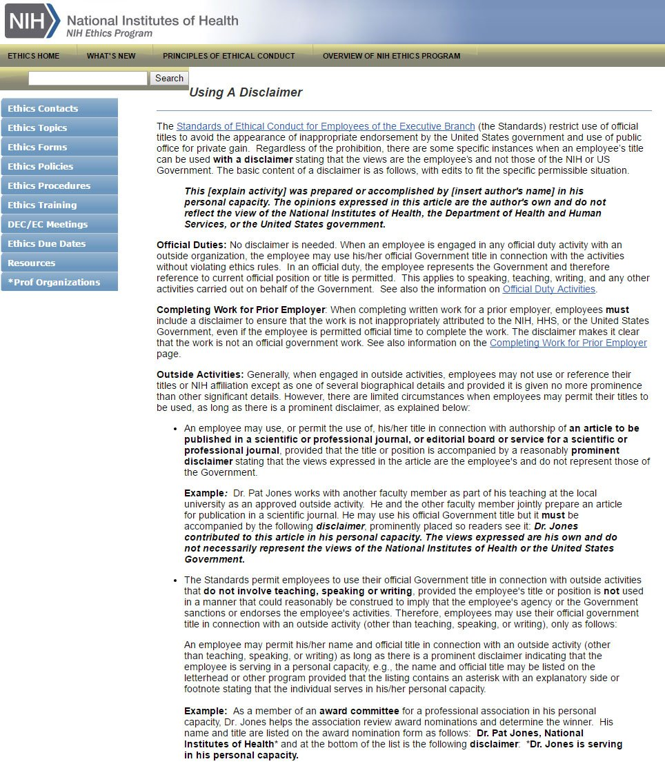 Nih Guidelines On How To Use Disclaimers