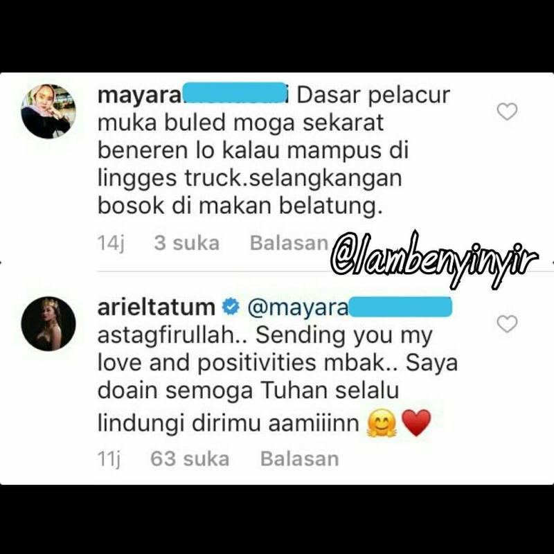 Dihina Netizen, Ariel Tatum Membalas komentar tersebut dengan Bijaksana