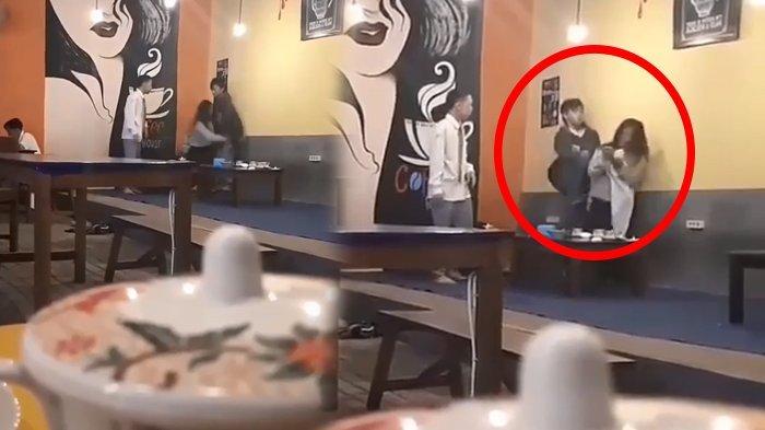Sadis! Cowok Tendang Cewek sampai Jatuh Saat Bertengkar di Kafe