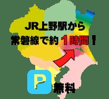 JR上野駅から常磐線で約1時間、駐車場無料