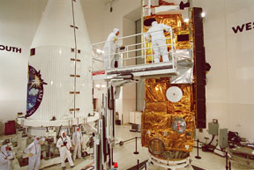Terra satellite being prepared for placement in the payload fairing.  Image credit: NASA (public domain).