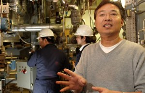 Last winter, OSU nuclear engineer Qiao Wu trained Chinese engineers in the operation of the Westinghouse AP1000 plant. Behind him are DongJian Zhao (left), Shanghai Nuclear Energy Research and Development Institute, and Professor Hanyang Gu, Shanghai Jiaotong University.