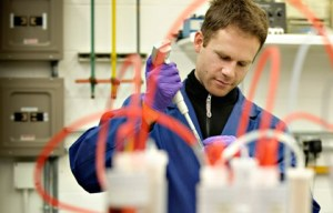 Brent Matteson, a Ph.D. student in nuclear chemistry, works in Assistant Professor Alena Paulenova's Laboratory of Transuranic Elements. A fellow of the Civil Radioactive Waste Management Program of the U.S. Department of Energy, he studies the chemical behavior of neptunium.
